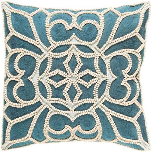 Pastiche Blue and Neutral 20-Inch Pillow Cover