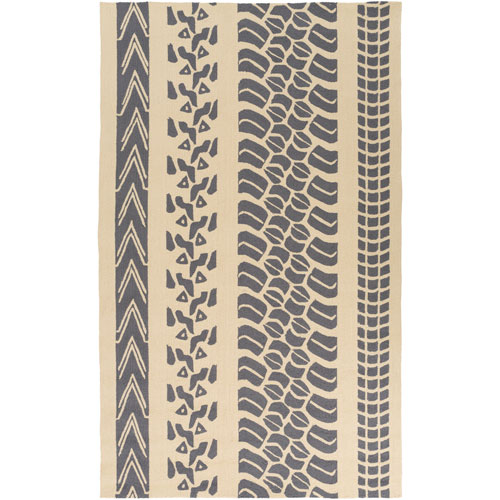 Pandemonium Charcoal and Beige Rectangular: 5 Ft x 8 Ft Rug