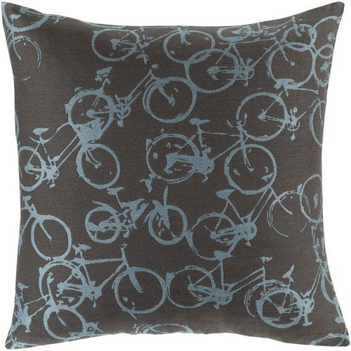 Bold Bicycles Sky Blue and Black 19-Inch Pillow with Down Fill