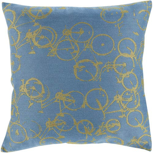Bold Bicycles Slate and Lime 18-Inch Pillow with Down Fill