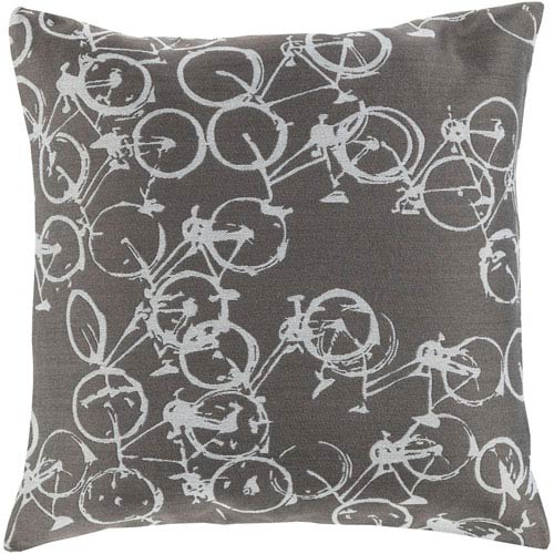 Bold Bicycles Light Gray and Ivory 19-Inch Pillow with Down Fill
