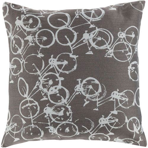 Pedal Power Gray and Neutral 22-Inch Pillow Cover