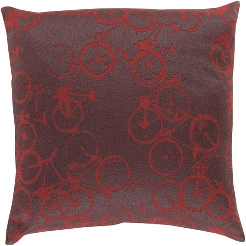 Bold Bicycles Burgundy and Charcoal 18-Inch Pillow with Down Fill