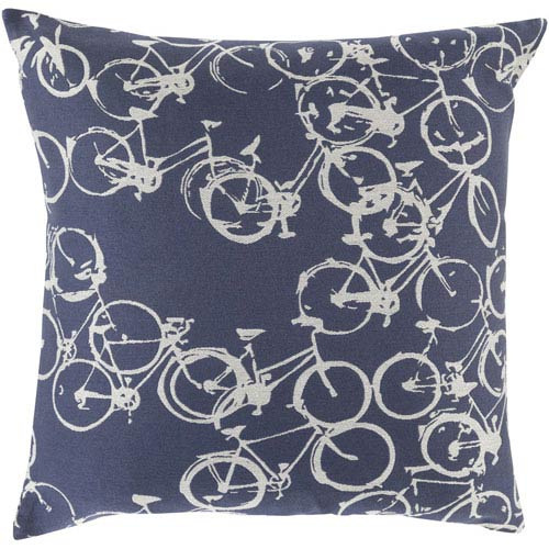 Bold Bicycles Navy and Light Gray 20-Inch Pillow with Down Fill