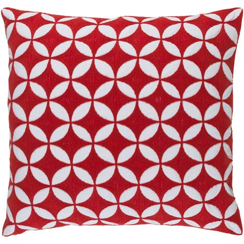 Perimeter Red and Neutral 18-Inch Pillow Cover