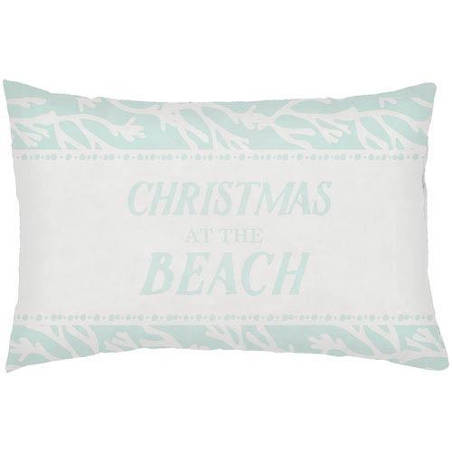 Surya Sea-sons Greetings Seafoam 24 x 14-Inch Throw Pillow