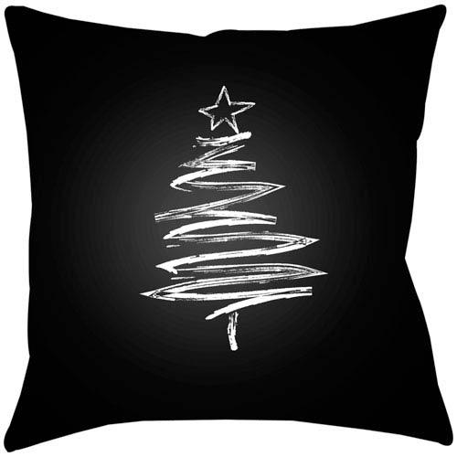 Surya Trim the Tree Black 18 x 18-Inch Throw Pillow