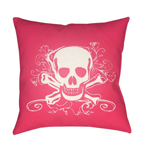 Surya Punk White and Bright Pink 18 x 18-Inch Pillow