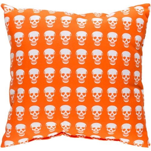 Surya Punk White and Bright Orange 22 x 22-Inch Pillow