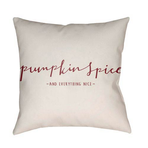 White Pumpkin Spice 20-Inch Throw Pillow with Poly Fill