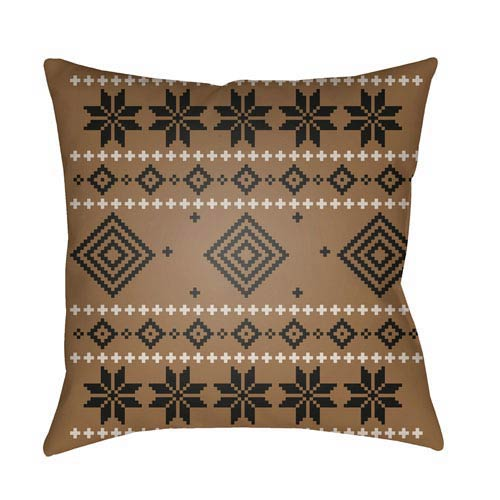 Brown Fair Isle II 20-Inch Throw Pillow with Poly Fill