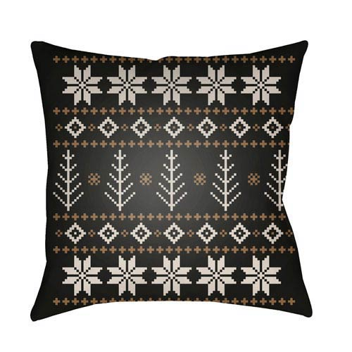 Black Fair Isle III 20-Inch Throw Pillow with Poly Fill