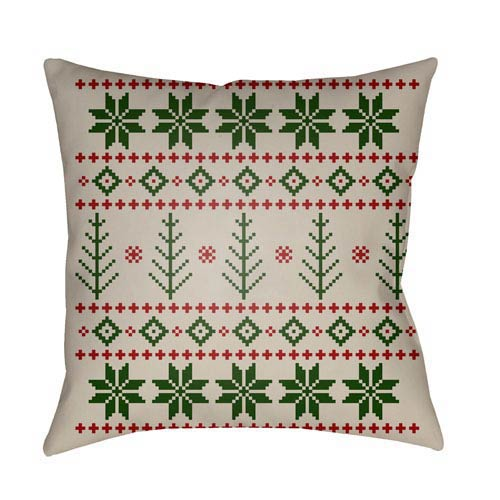 Green Fair Isle III 20-Inch Throw Pillow with Poly Fill