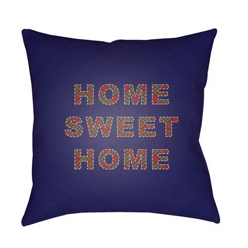 Blue Home Sweet Home 20-Inch Throw Pillow with Poly Fill