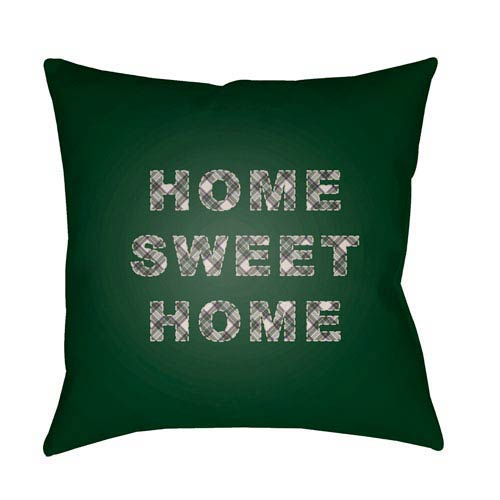 Green Home Sweet Home 20-Inch Throw Pillow with Poly Fill