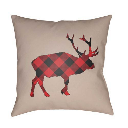Tan Buffalo 18-Inch Throw Pillow with Poly Fill