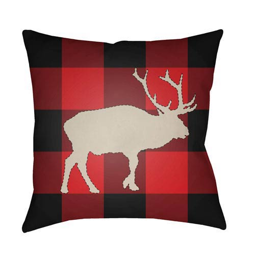Red Buffalo 18-Inch Throw Pillow with Poly Fill