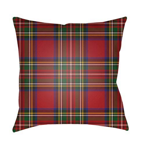 Red Tartan II 20-Inch Throw Pillow with Poly Fill
