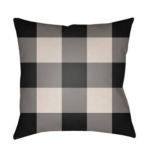 Black Checker 18-Inch Throw Pillow with Poly Fill