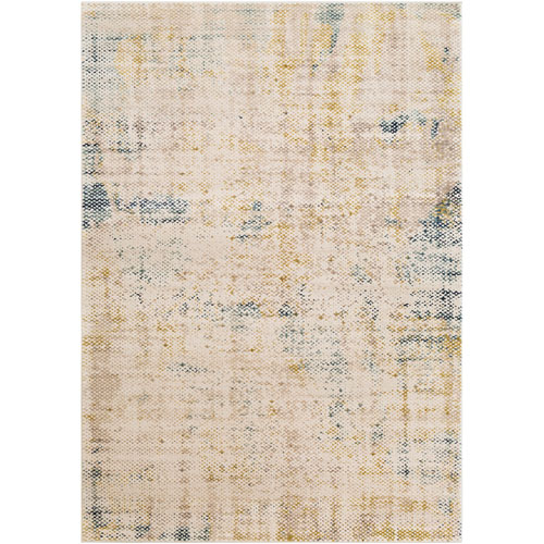 Palermo Taupe and Aqua Rectangle: 2 Ft. x 3 Ft. Rug
