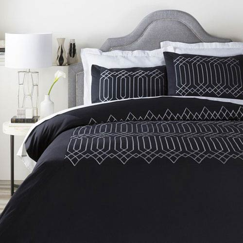 Plaza Black Twin Duvet Set