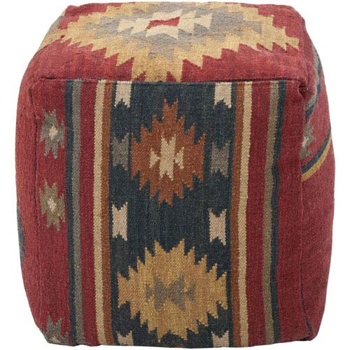 Admirable Wool Kilim Square Pouf Ottoman I Andrewgaddart Wooden Chair Designs For Living Room Andrewgaddartcom