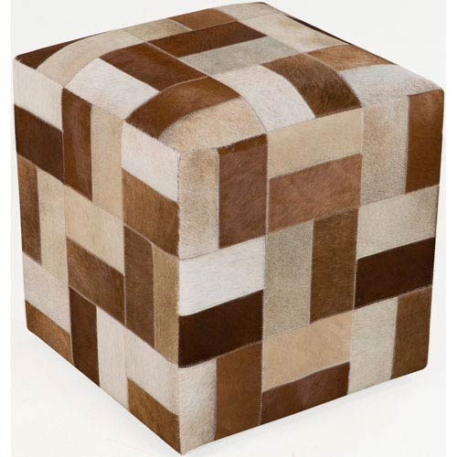 Neutral and Brown Poufs Cube Pouf