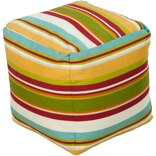 Green and Venetian Red Pouf