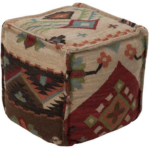 Wool Kilim Square Pouf Ottoman II