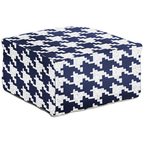 Houndstooth Navy Blue Pouf