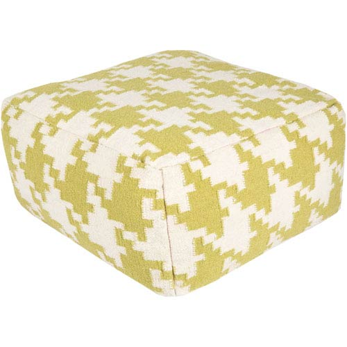 Houndstooth Light Green Pouf