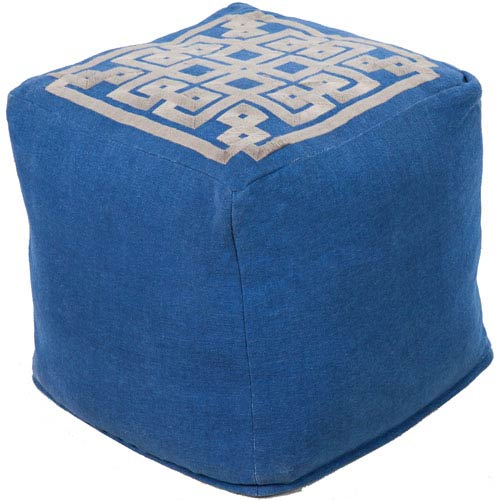 Surya Patterned Blue Pouf