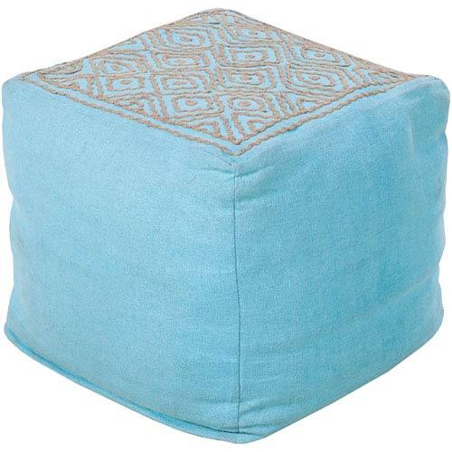 Patterned Blue Pouf