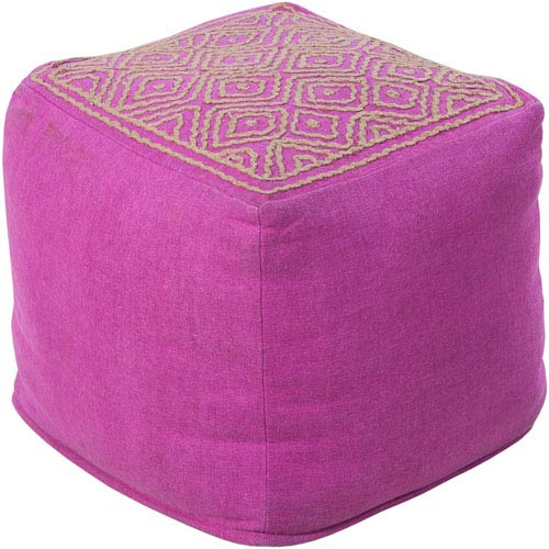 Patterned Raspberry Pouf