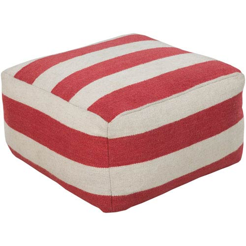 Striped Ivory Pouf
