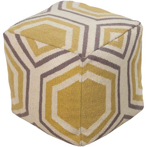 Patterned Ivory Pouf
