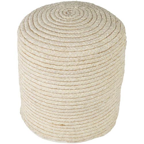 Surya Pinmar Butter and Tan Pouf