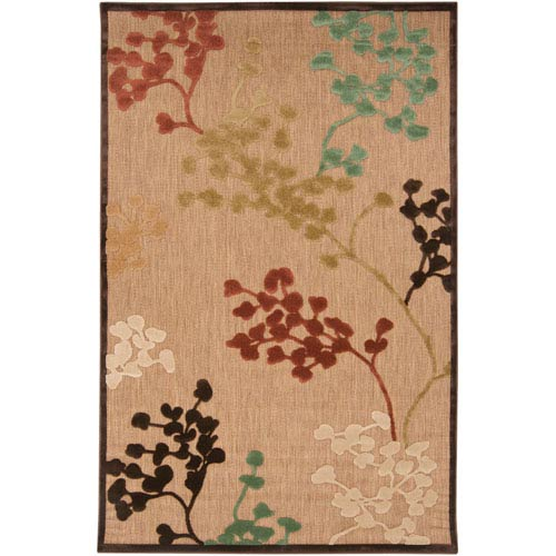 Portera Natural Rust and Teal Rectangular: 5 ft. x 7 ft. 6 in. Rug