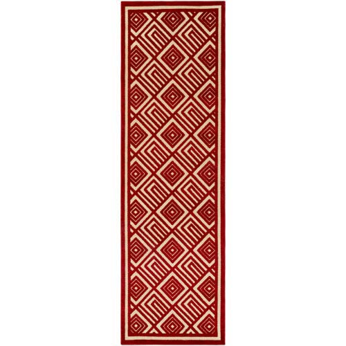 Portera Red and Neutral Runner: 2 Ft. 6-Inch x 7 Ft. 10-Inch