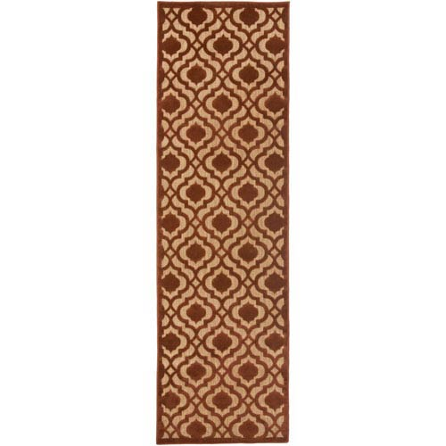 Portera Red and Brown Runner: 2 Ft. 6-Inch x 7 Ft. 10-Inch