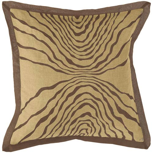 Brown 18 x 18 Pillow with Taupe Zebra Detail w/ Down Fill