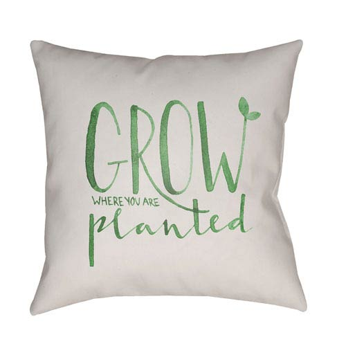 Surya Grow Green and Beige 18 x 18-Inch Throw Pillow