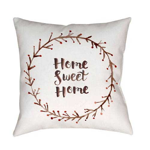 Surya Home Sweet Home II Red and White 20 x 20-Inch Throw Pillow