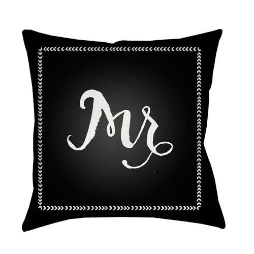 Surya Husband Black and White 18 x 18-Inch Throw Pillow