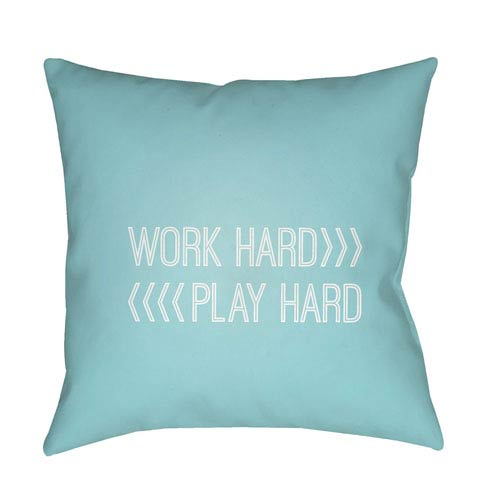 Surya Work Play Blue and White 18 x 18-Inch Throw Pillow