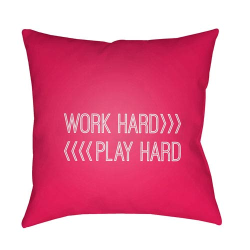Surya Work Play Red and White 20 x 20-Inch Throw Pillow