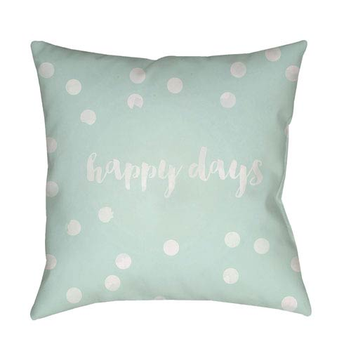 Happy Days Green and White 20 x 20-Inch Throw Pillow