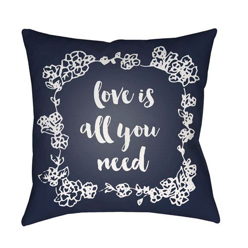 Surya Love All You Need Black and White 18 x 18-Inch Throw Pillow