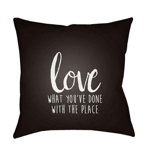 Surya Love The Place Black and White 20 x 20-Inch Throw Pillow