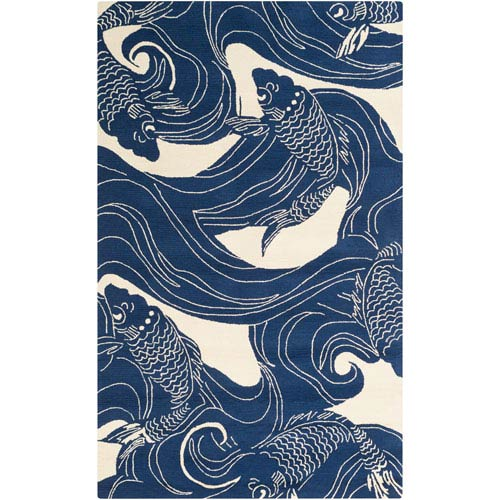 Rain Navy and Beige Rectangular: 2 Ft x 3 Ft Rug